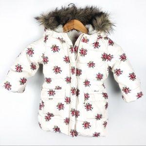 Gap Puffer Coat with Faux fur trim Size 3T floral